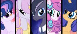 Size: 2388x1058 | Tagged: safe, artist:starfalldawn, princess flurry heart, oc, oc:cloudy millions, oc:lightning emblem, oc:royal sunrise, oc:starfall sparkle, pony, unicorn, female, mare, next generation, offspring, older, parent:filthy rich, parent:flash sentry, parent:princess celestia, parent:princess luna, parent:royal guard, parent:twilight sparkle, parents:flashlight, parents:guardlestia