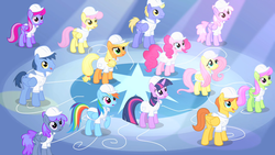 Size: 1280x720 | Tagged: safe, screencap, applejack, blueberry punch, blues, fluttershy, merry may, noteworthy, parasol, peppermint crunch, pinkie pie, rainbow dash, rainbowshine, sugar apple, thorn (character), twilight sparkle, warm front, earth pony, pegasus, pony, unicorn, sonic rainboom (episode), background pony, crowd, female, hard hat, implied rarity, male, mare, race swap, stallion, unicorn twilight, weather factory uniform