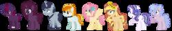 Size: 2620x468 | Tagged: safe, artist:venomns, oc, oc only, oc:butterscotch, oc:caramel, oc:cherry pie, oc:dusk, oc:flare, oc:lunar moon, oc:northern stars, oc:orchid glow, earth pony, pegasus, pony, unicorn, base used, female, floral head wreath, flower, magical lesbian spawn, male, mare, offspring, parent:applejack, parent:coloratura, parent:fluttershy, parent:pinkie pie, parent:rainbow dash, parent:rarity, parent:spitfire, parent:starlight glimmer, parent:sunburst, parent:sunset shimmer, parent:tempest shadow, parent:trixie, parent:twilight sparkle, parents:appleshimmer, parents:flutterburst, parents:raralight, parents:spitdash, parents:starity, parents:tempestlight, parents:trixiepie, simple background, stallion, transparent background