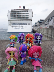 Size: 3456x4608   Tagged: safe, fluttershy, pinkie pie, rainbow dash, rarity, starlight glimmer, sunset shimmer, twilight sparkle, equestria girls, cruise ship, doll, equestria girls minis, female, irl, photo, singapore, toy