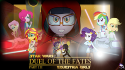 Size: 1920x1080 | Tagged: applejack, artist:amante56, bioware, clothes, crossover, darth midnight, darth revan, disney, duel of the fates, equestria girls, fluttershy, glasses, humane five, humane seven, humane six, jedi, knights of the old republic, lightsaber, lucasarts, pinkie pie, rainbow dash, rarity, revan, safe, sci-twi, sith, star wars, star wars: the old republic, sunset shimmer, twilight is anakin, twilight sparkle, weapon