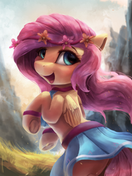 Size: 2250x3000 | Tagged: safe, artist:vanillaghosties, fluttershy, pegasus, pony, bracelet, clothes, cloud, cute, female, floral head wreath, flower, flower in hair, grass, jewelry, looking at you, looking back, looking back at you, mare, mountain, open mouth, shyabetes, skirt, skirt lift, sky, smiling, solo, underhoof, wings