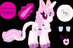 Size: 1695x1110 | Tagged: safe, artist:casanova-mew, oc, oc only, oc:magnesium, object pony, original species, pony, unicorn, chest fluff, element pony, female, leonine tail, mare, ponified, reference sheet, simple background, solo, transparent background, unshorn fetlocks