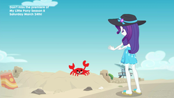 Size: 1920x1080 | Tagged: safe, artist:supra80, edit, edited screencap, screencap, rarity, crab, aww... baby turtles, equestria girls, equestria girls series, clothes, crab fighting a giant rarity, feet, flip-flops, hat, legs, meme, rarity fighting a giant crab, rarity fighting a regular sized crab, role reversal, ruins, sand castle, sandals, spurdo spärde, swimsuit