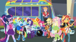 Size: 1920x1080 | Tagged: safe, screencap, applejack, big macintosh, fluttershy, pinkie pie, rainbow dash, rarity, sci-twi, sunset shimmer, twilight sparkle, eqg summertime shorts, equestria girls, get the show on the road, balloon, bass guitar, boots, bowtie, bracelet, bus, clothes, compression shorts, cowboy boots, cowboy hat, denim skirt, drum kit, drums, drumsticks, electric guitar, eyes closed, female, flying v, geode of empathy, geode of fauna, geode of shielding, geode of sugar bombs, geode of super speed, geode of super strength, geode of telekinesis, glasses, guitar, hat, high heel boots, humane five, humane seven, humane six, it begins, jacket, jewelry, keytar, leather jacket, magical geodes, male, microphone, musical instrument, ponied up, pony ears, pony history, ponytail, rainbow, raised leg, school bus, scitwilicorn, shoes, skirt, socks, sparkles, spoiler, stetson, sun, sunset shredder, the rainbooms, wings, wristband