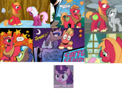 Size: 1407x1033 | Tagged: safe, artist:andypriceart, idw, big macintosh, cheerilee, fleetfoot, fluttershy, marble pie, princess luna, sugar belle, tealove, alicorn, earth pony, pegasus, pony, unicorn, filli vanilli, hearthbreakers, hearts and hooves day (episode), big macintosh gets all the mares, cheerimac, comics, female, fleetmac, fluttermac, kiss on the cheek, kissing, lunamac, male, marblemac, mare, past sins, ship sinking, shipping, stallion, straight, sugarmac, teamac, what the hay?, zen and the art of gazebo repair