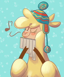 Size: 1654x2000 | Tagged: alpaca, artist:leolevahn, cloven hooves, community related, eyes closed, female, hat, musical instrument, music notes, pan flute, paprika paca, safe, solo, them's fightin' herds