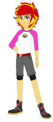 Size: 300x680 | Tagged: safe, artist:mytri-atari, sunset shimmer, equestria girls, legend of everfree, boots, bracelet, camp everfree outfits, equestria guys, jewelry, male, rule 63, shoes, sunset glare, wrong eye color