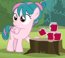 Size: 1168x1044 | Tagged: safe, screencap, tulip swirl, pegasus, pony, marks and recreation, cropped, female, filly, food, jam, jar, solo, tree stump