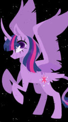 Size: 719x1280 | Tagged: safe, artist:missycreates, twilight sparkle, alicorn, pony, black background, colored pupils, curved horn, female, leonine tail, lineless, mare, part of a set, simple background, solo, tail feathers, twilight sparkle (alicorn)
