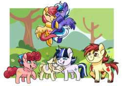 Size: 1490x1047 | Tagged: artist:kitkatsart, earth pony, female, flower, freckles, glasses, handkerchief, hug, male, mare, next generation, oc, oc:applesauce, oc:hot cross buns, oc only, oc:phoenix feather, oc:stormy nights, oc:sunny days, oc:vespera, offspring, parent:apple bloom, parent:big macintosh, parent:cheese sandwich, parent:flash sentry, parent:fluttershy, parent:pinkie pie, parent:pipsqueak, parent:rainbow dash, parents:cheesepie, parents:flashlight, parents:fluttermac, parent:soarin', parents:pipbloom, parents:soarindash, parent:sunset shimmer, parent:timber spruce, parent:twilight sparkle, pegasus, pony, safe, stallion, tree, unicorn