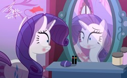 Size: 1200x742 | Tagged: safe, artist:bluse, rarity, pony, unicorn, acne, bags under eyes, carousel boutique, female, mare, mirror, pimple, rarity is not amused, reflection, shocked, show accurate, solo, the worst possible thing, unamused