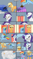 Size: 1280x2297 | Tagged: safe, artist:poowndraww, applejack, rainbow dash, rarity, earth pony, pegasus, pony, unicorn, ..., angry, applejack also dresses in style, applejack's hat, ball of violence, clothes, comic, cowboy hat, dress, female, fire, flame eyes, forced makeover, hat, magic, makeover, mare, payback, prank, rainbow dash always dresses in style, revenge, tomboy taming, white eyes