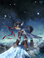 Size: 980x1300 | Tagged: safe, artist:margony, oc, oc only, pegasus, pony, boots, clothes, commission, female, floppy ears, glaive, looking at you, mare, mountain, mouth hold, scenery, shoes, snow, solo, weapon, ych result