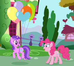 Size: 2512x2232 | Tagged: amethyst star, artist:razorbladetheunicron, balloon, base used, cutie mark, duo, earth pony, floating, lateverse, pinkie pie, pony, ponyville, safe, smiling, sparkler, then watch her balloons lift her up to the sky, unicorn