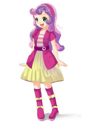 Size: 1280x1810 | Tagged: safe, artist:love2eategg, sweetie belle, human, anime, belt, boots, clothes, cute, diasweetes, equestria girls outfit, female, headband, human coloration, humanized, jacket, looking at you, shoes, simple background, skirt, solo, white background