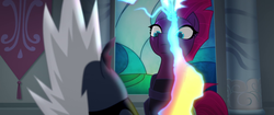 Size: 1920x804 | Tagged: safe, screencap, grubber, tempest shadow, pony, unicorn, my little pony: the movie, broken horn, electricity, eye scar, faic, furious, lackey, magic, scar, scared, sparking horn, surprised