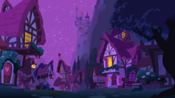 Size: 5120x2880 | Tagged: source needed, safe, background, canterlot, house, mountain, night, no pony, ponyville, scenery