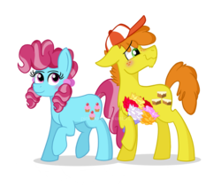 Size: 800x676 | Tagged: artist:pink-pone, blushing, bouquet, cap, carrot cake, carrot cup, chiffon swirl, cup cake, female, hat, male, pony, safe, shipping, simple background, straight, transparent background, watermark, younger