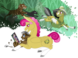 Size: 3508x2600 | Tagged: safe, artist:jackiebloom, a.k. yearling, daring do, oc, oc:kinyume, big cat, cat, hybrid, lynx, panther, pegasus, pony, tiger, zebroid, zony, ahuizotl's cats, alternate design, alternate hairstyle, animal, bandage, bandaged wing, blaze (coat marking), book, coat markings, facial markings, female, high res, leonine tail, magical lesbian spawn, mare, offspring, pale belly, parent:daring do, parent:zecora, parents:daringcora, reading a book, realistic horse legs, running, simple background, snip (coat marking), socks (coat markings), starry eyes, sweat, sweatdrop, transparent background, wingding eyes