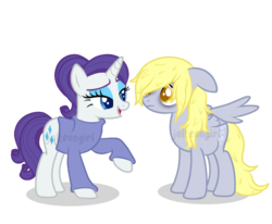 Size: 1024x843 | Tagged: safe, artist:jolteongirl, derpy hooves, rarity, pegasus, pony, unicorn, bags under eyes, clothes, colored pupils, derpity, female, floppy ears, lesbian, pregnant, sad, shipping, simple background, sweater, transparent background, watermark