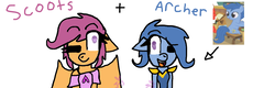 Size: 1024x329 | Tagged: safe, artist:jas5576, archer (character), scootablue, scootaloo, oc, oc:ponytale scootaloo, anthro, comic:ponytale