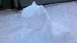 Size: 2592x1456 | Tagged: safe, artist:yanushkoniokrad, twilight sparkle, alicorn, body, bust, cold, ears, hair, head, ice, irl, photo, poland, polish, sculpture, simple background, snow, snow sculpture, snowpony, twilight sparkle (alicorn), white, winter