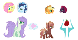 Size: 2185x1131 | Tagged: safe, artist:foxpawyt, applejack, fluttershy, soarin', tempest shadow, oc, pony, my little pony: the movie, female, lesbian, magical lesbian spawn, male, offspring, parent:applejack, parent:fluttershy, parent:soarin', parent:tempest shadow, parents:soarinshy, parents:tempestjack, shipping, soarinshy, straight, tempestjack
