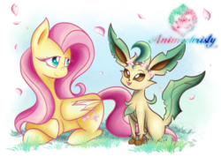 Size: 1024x731 | Tagged: artist:animechristy, crossover, female, floral head wreath, flower, fluttershy, leafeon, looking at each other, mare, pokémon, pony, prone, safe