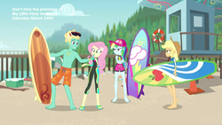 Size: 1920x1080 | Tagged: safe, screencap, applejack, fluttershy, gladys, rainbow dash, zephyr breeze, blue crushed, equestria girls, equestria girls series, barefoot, clothes, cloud, feet, female, flip-flops, glass, hat, jewelry, looking at each other, male, male feet, midriff, necklace, partial nudity, sandals, sky, sunglasses, surfboard, swimsuit, topless, wetsuit
