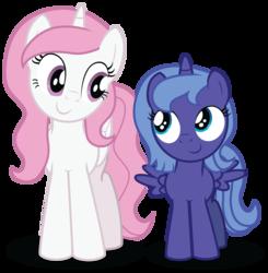 Size: 2556x2612 | Tagged: safe, artist:aleximusprime, princess celestia, princess luna, alicorn, pony, cewestia, duo, female, filly, pink-mane celestia, s1 luna, simple background, sisters, transparent background, woona, younger