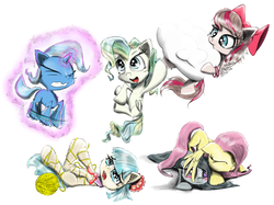 Size: 2412x1800 | Tagged: safe, artist:chopsticks, angel wings, coco pommel, fluttershy, marble pie, trixie, vapor trail, earth pony, pegasus, pony, unicorn, blushing, bracelet, cheek fluff, chest fluff, cloud, cute, despair, diatrixes, ear fluff, entangled, flapping, flying, gritted teeth, hiding, hnnng, jewelry, levitation, magic, marblebetes, nom, open mouth, sad, shyabetes, simple background, sleeping, smiling, tangled up, telekinesis, the council of shy ponies, trying too hard, weapons-grade cute, wip, yarn, yarn ball