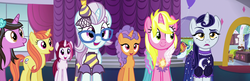 Size: 2227x718 | Tagged: safe, screencap, cayenne, citrus blush, lily love, moonlight raven, north point, pretzel twist, sunshine smiles, pony, unicorn, canterlot boutique, background pony, canterlot carousel, clothes, dress, female, in-spire-ation, over the moon, panorama, tripping the light