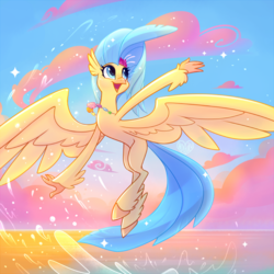 Size: 800x800 | Tagged: artist:meekcheep, classical hippogriff, cloud, cute, female, flower, flower in hair, flying, happy, hippogriff, jewelry, looking up, my little pony: the movie, necklace, open mouth, princess skystar, safe, seashell necklace, sky, skyabetes, solo, splash, splashing, spread wings, water, wings