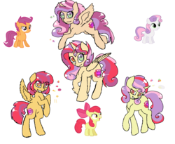 Size: 2440x2000 | Tagged: safe, artist:synnibear03, apple bloom, scootaloo, sweetie belle, oc, alicorn, cutie mark crusaders, fusion, fusion diagram, hexafusion, the ultimate cutie mark crusader, we have become one