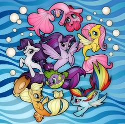 Size: 640x632 | Tagged: safe, artist:odscene, applejack, fluttershy, pinkie pie, rainbow dash, rarity, spike, twilight sparkle, alicorn, puffer fish, seapony (g4), my little pony: the movie, mane seven, mane six, seaponified, seapony applejack, seapony fluttershy, seapony pinkie pie, seapony rainbow dash, seapony rarity, seapony twilight, species swap, spike the pufferfish, twilight sparkle (alicorn)