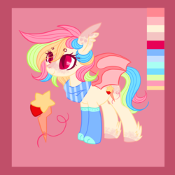 Size: 3000x3000 | Tagged: safe, artist:shiroganeko, oc, bat pony, pony, adoptable, bandana, bat ears, bat pony oc, bat wings, blaze (coat marking), clothes, color palette, colored eyelashes, colored hooves, cute, cutie mark, dappled, eyebrows, feathered hooves, freckles, looking forward, multicolored hair, neckerchief, pink background, simple background, slit pupils, socks, solo, spread wings, standing, wings