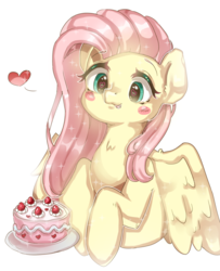 Size: 1024x1260 | Tagged: safe, artist:rozenhain, fluttershy, pegasus, pony, :p, blush sticker, blushing, bust, cake, cute, ethereal mane, eyes on the prize, female, food, heart, heart eyes, highlights, looking at something, looking down, mare, pictogram, shyabetes, silly, simple background, solo, spread wings, starry mane, stars, tongue out, weapons-grade cute, white background, wingding eyes, wings