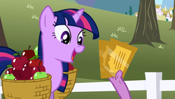 Size: 1280x720 | Tagged: apple, apple basket, basket, food, gala ticket, happy, pony, safe, screencap, spike, the ticket master, ticket, twilight sparkle, unicorn