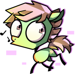 Size: 1233x1226   Tagged: safe, artist:amberpone, oc, oc only, oc:pot leaf, earth pony, pony, big eyes, brown, cute, cutie mark, digital art, eyes open, green, invader zim, lighting, male, pink, pink eyes, shading, short mane, short tail, simple background, stallion, transparent background, whistling