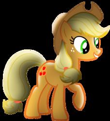 Size: 2000x2200 | Tagged: safe, artist:shelmo69, artist:silentgriffon, edit, applejack, earth pony, pony, raised hoof, shading edit, simple background, solo, transparent background
