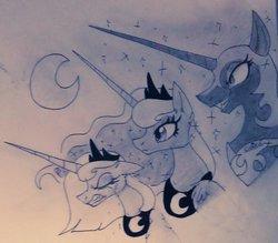 Size: 1024x895 | Tagged: safe, artist:jinxedwolfxd, nightmare moon, princess luna, lunar trinity, monochrome, multeity, s1 luna, self ponidox