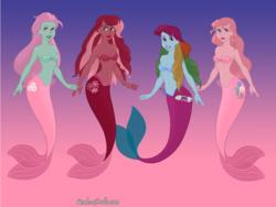 Size: 820x616 | Tagged: safe, artist:azaleasdolls, artist:cherryfall23, cherry blossom (g3), minty, pinkie pie, pinkie pie (g3), rainbow dash, rainbow dash (g3), mermaid, equestria girls, clothes, crossover, dressup game, fins, flower, flower blossom, g3, g3 to equestria girls, generation leap, mermaid maker, mermaid tail, mermaidized, quartet, seashell bra, species swap, the little mermaid