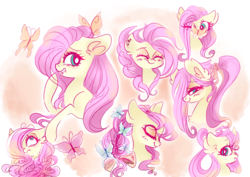 Size: 1024x726 | Tagged: safe, artist:pinkablue, fluttershy, butterfly, pegasus, pony, abstract background, alternate hairstyle, blushing, bust, ear fluff, expressions, eyes closed, female, glasses, lidded eyes, mare, raised hoof, scrunchie, scrunchy face, smiling, solo