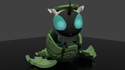 Size: 3840x2160   Tagged: safe, artist:evan555alpha, derpibooru exclusive, changeling, changeling larva, 3d, big eyes, blender, cute, cycles, cycles render, egg, fangs, fluids, hatching, hatchling, high res, larva, open mouth, reflection