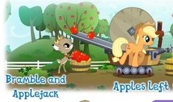 Size: 351x208   Tagged: safe, applejack, bramble, idw, apple, duo, food, gameloft, idw showified, machine