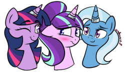 Size: 2400x1400 | Tagged: safe, artist:rarityforever, edit, starlight glimmer, trixie, twilight sparkle, pony, unicorn, blushing, counterparts, cropped, cutie mark, female, horn ring, lesbian, lovewins, magical trio, one eye closed, polyamory, shipping, simple background, smiling, startrix, transparent background, twilight's counterparts, twistarlight, twixie, twixstar, wink