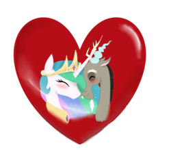 Size: 3275x2871 | Tagged: safe, artist:mr100dragon100, discord, princess celestia, bust, dislestia, female, heart, male, shipping, simple background, straight, transparent background