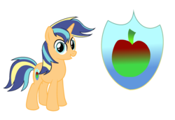 Size: 2104x1436   Tagged: safe, artist:thesmall-artist, oc, oc only, oc:apple shield, pony, unicorn, cutie mark background, male, next generation, offspring, parent:applejack, parent:shining armor, parents:shiningjack, simple background, solo, stallion, transparent background