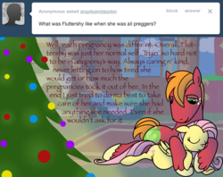 Size: 1280x1012 | Tagged: safe, artist:pampoke, big macintosh, fluttershy, an apple and four angels, ask, christmas, christmas tree, cuddling, female, floppy ears, fluttermac, fluttershy's cottage, holiday, male, preggoshy, pregnant, shipping, sleeping, straight, tree, tumblr